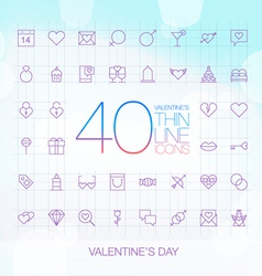 40 Trendy Thin Icons Valentines Day Set vector image vector image