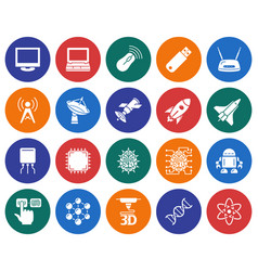 collection of round icons high technology vector image