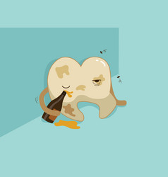 dirty tooth is drunken teeth and tooth concept of vector image vector image