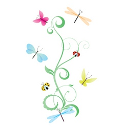 green curves with butterflies vector image vector image