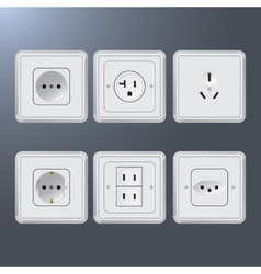 Set of electrical socket different contries vector image vector image