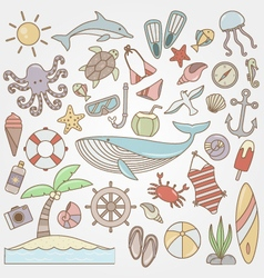 summer fun doodle collection vector image vector image
