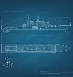 Blueprint ship vector image vector image