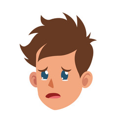 character face head boy crying vector image