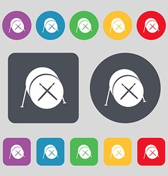 Drum icon sign a set of 12 colored buttons flat vector