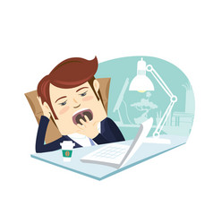 funny business man yawning at his workplace flat vector image