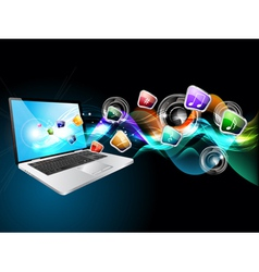laptop music vector image vector image