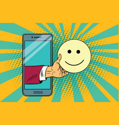 smile joy emoji emoticons in smartphone vector image