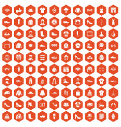 100 fashion icons hexagon orange vector image