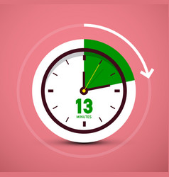 13 thirteen minutes clock icon time symbol with vector