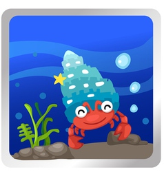 A hermit crab underwater backgroun vector
