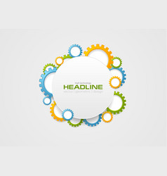 Abstract tech colorful gears and blank circle vector