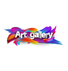Art gallery paper poster with colorful brush vector