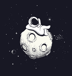 Astronaut relax on the moon vector