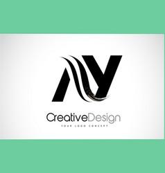 Ay a y creative brush black letters design vector