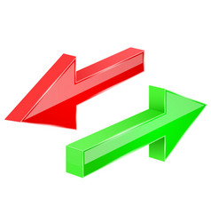 back and next arrows 3d red and green shiny signs vector image