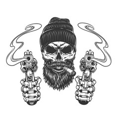 Bearded and mustached gangster skull vector