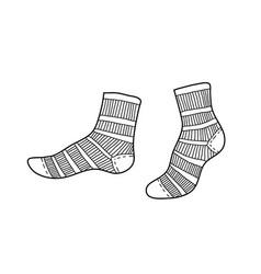 Black short textile socks hand drawn ink drawing vector
