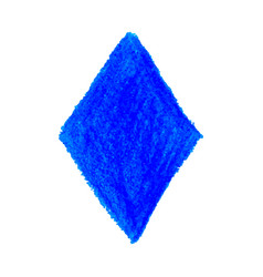 Blue crayon scribble texture stain rhombus shape vector