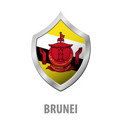 brunei flag on metal shiny shield vector image
