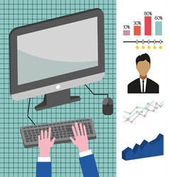 Business infographic with computer person charts a vector