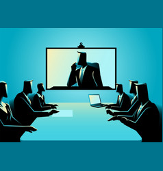Business men and women having teleconference vector