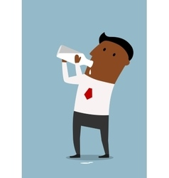Businessman drinking milk from bottle vector