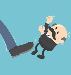 businessman kicked by his boss big vector image