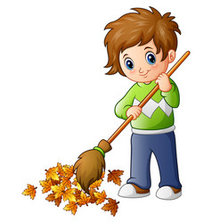 cartoon boy with broom and autumn leaves vector image