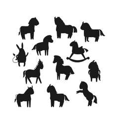 Cartoon horse black silhouette vector
