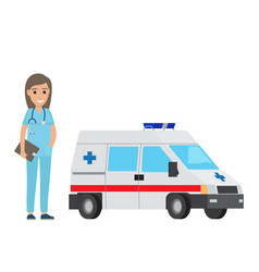 Cheerful nurse with ambulance car flat design vector