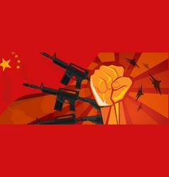 China retro style war propaganda hand fist vector