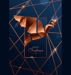 Christmas and new year card luxury copper dove vector