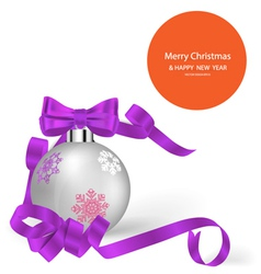 Christmas ball with ribbon and bow vector image
