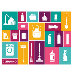 cleaning icons in flat style vector image