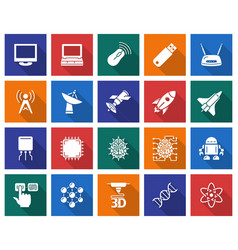 Collection of square icons high technology vector
