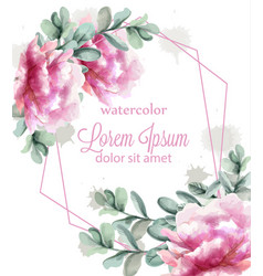 colorful peony flowers frame watercolor banner vector image