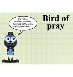 Comical bird pray vicar vector