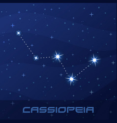 Constellation cassiopeia queen night star sky vector
