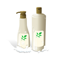 cosmetic hair shampoo realistic bottles packaging vector image
