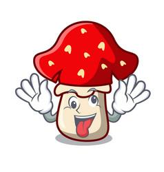 Crazy amanita mushroom mascot cartoon vector