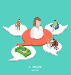 Customer support flat isometric concept vector