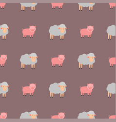 Cute pig cartoon animal seamless pattern vector