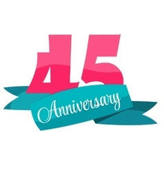 Cute Template 45 Years Anniversary Sign vector