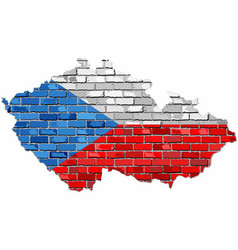 czech republic map on a brick wall vector image