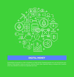 digital money round banner with place for text vector image
