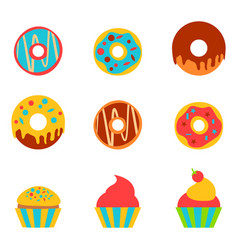 Doughnut and cake in a flat style vector