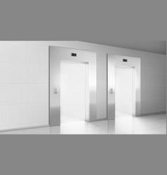 Empty hallway with light from open elevators doors vector