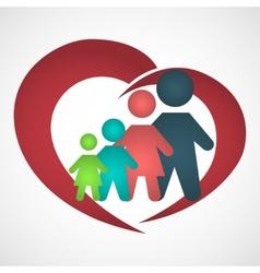 family inside the heart vector image