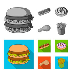 fast food meal and other web icon in monochrome vector image